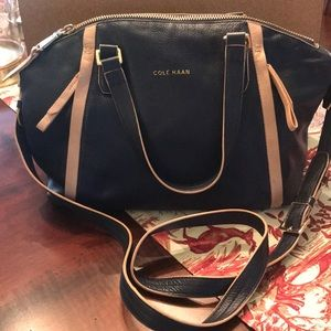 Navy blue, leather satchel with crossbody strap